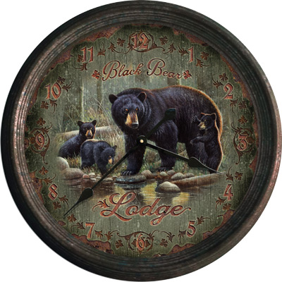 "15"" Black Bear Lodge Clock"