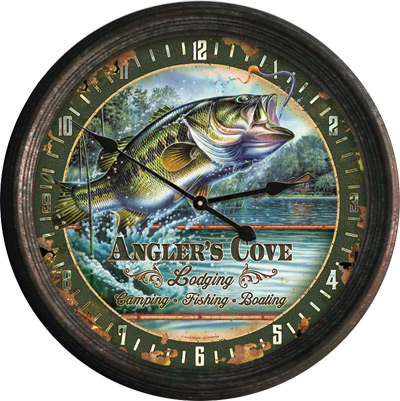 "15"" Rusted Bass Clock"