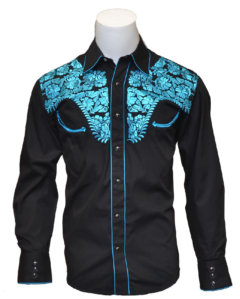 MENS TOOLED BLK W/BLUE EMBROIDERY
