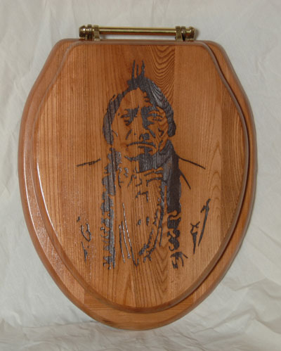"""I Smell White Man!!!"" Chief Sitting Bull Toilet Seat"