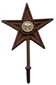 Texas Large Hook (Hat and Coat Rack)Star w/Berries