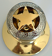 Gold Star w/Etching -Gold Knob  (Door Knobs) Non-Lockable