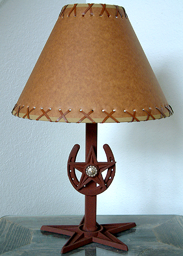 "Horseshoe and Star Concho Lamp 21"" (W/O  Shade)( Longhorn w/Berries)"