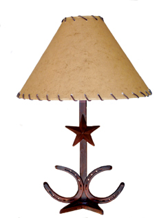 "Lamp (Star w/ Two Horseshoes at Base 17"")  w/ 14""Shade"