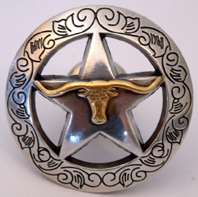 Engraved Boarder Star w/Steer (Drawer Pulls)
