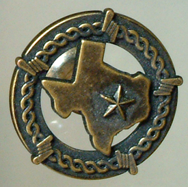 Texas Map w/Barbwire  Antique Brass (Drawer Pulls)