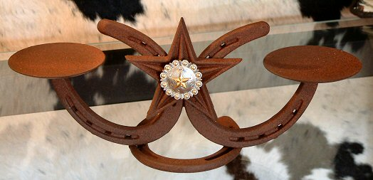 Shoe Base w/Star & Engraved Steer Concho (Candle Holders)