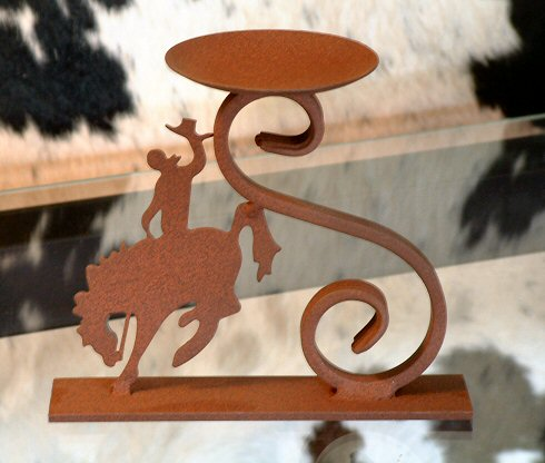 Bronc cut-out with scroll (Candle Holders)