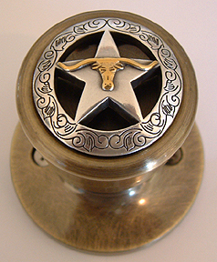 Engraved Boarder Star w/Steer- Antique Brass (LOCKABLE) Drawer Pull Shown