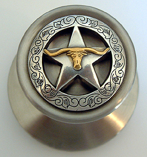 Engraved Boarded Star w/Steer Satin Silver ( Door Knob)  (Lockable)Drawer Pull shown