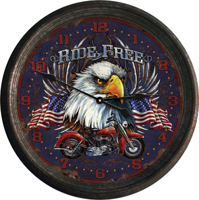 "15"" Ride Free Rusted Clock"
