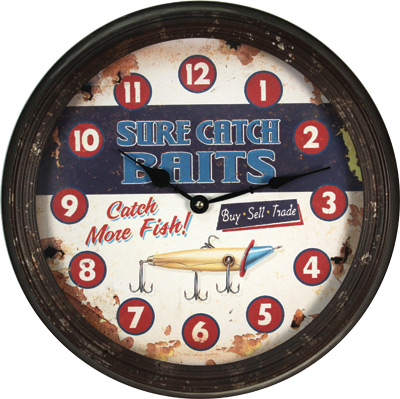 "15"" Rusted Sure Catch Clock"