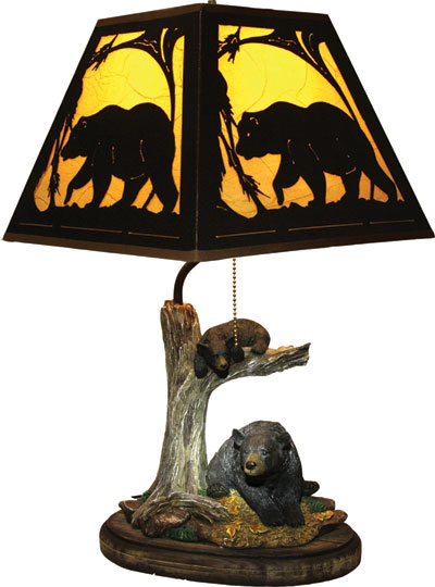 Bear Lamp w/Metal Shade