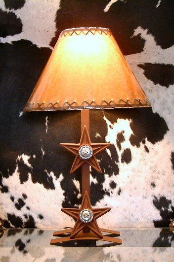 "Two Star Lamp w/Conchos (H-Base) 17"" (W/O Shade) Engraved Steer"
