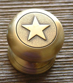 "Western Star Pull -Antique Brass -1 1/4"" (Drawer Pulls)"
