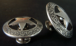 "Old Silver Star  w/Etching 1 1/2""  (Drawer Pulls)"