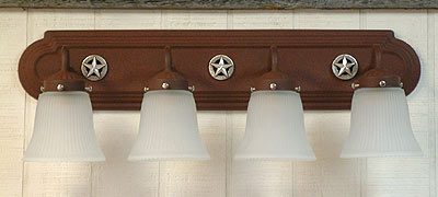 "Goose Neck Vanity Light 24"" Four Lights  (3-D Star -Silver)"